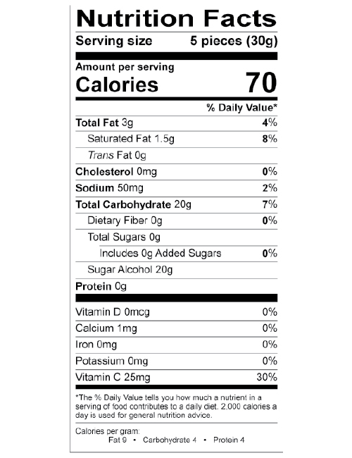 Zaffi Taffy Nutritional Label