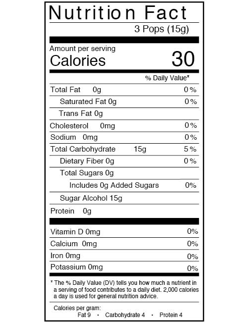 Zollipop Nutritional Information
